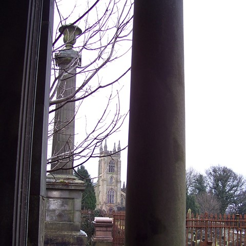 The Stainton column seen from the Dawson Mausoleum with Larbert Church beyond
