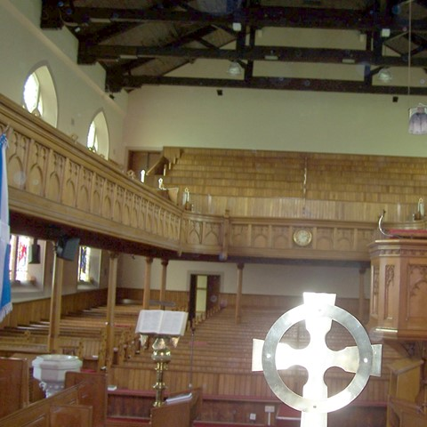 Larbert Old Parish Church looking west from the chancel